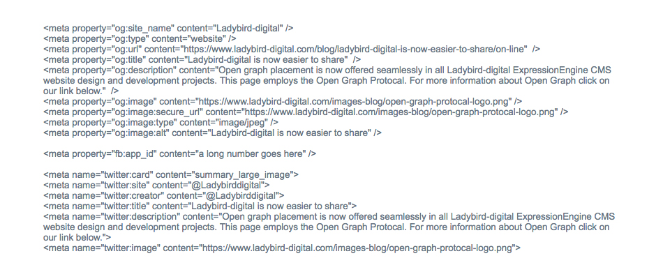 Sample of Open Graph meta tags